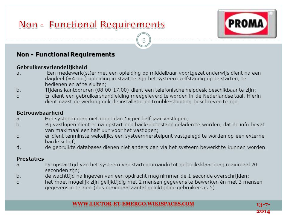 Non - Functional Requirements