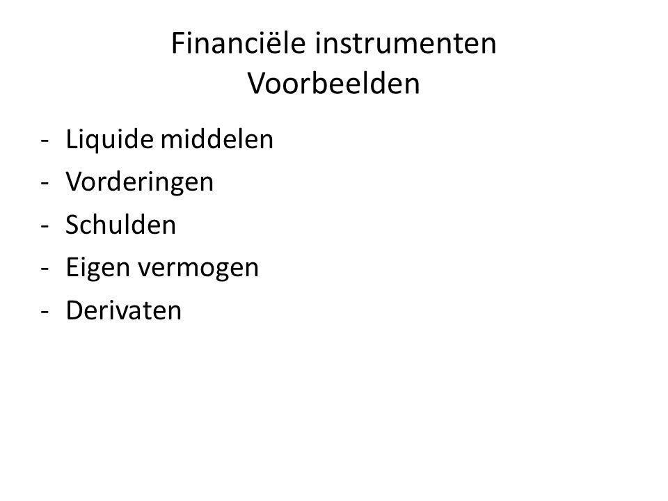Financiële instrumenten Voorbeelden