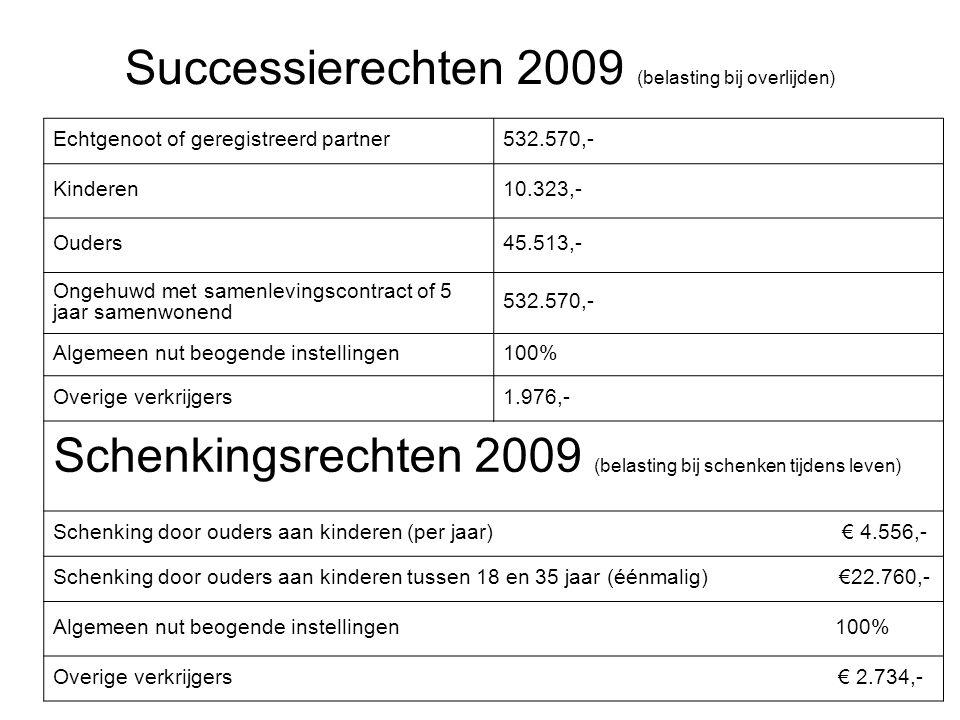 Successierechten 2009 (belasting bij overlijden)