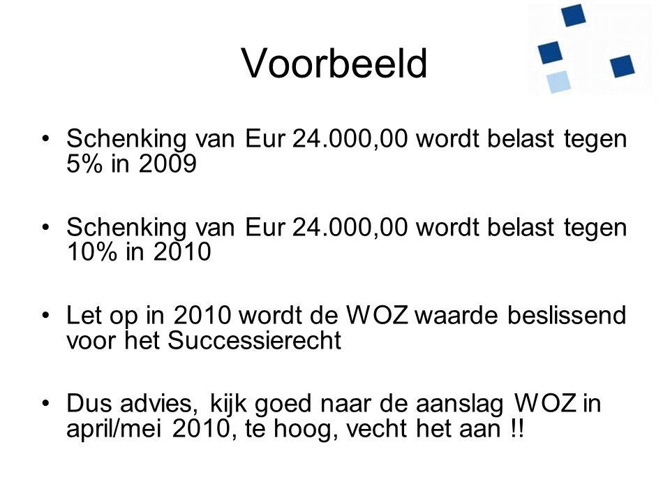 Voorbeeld Schenking van Eur 24.000,00 wordt belast tegen 5% in 2009