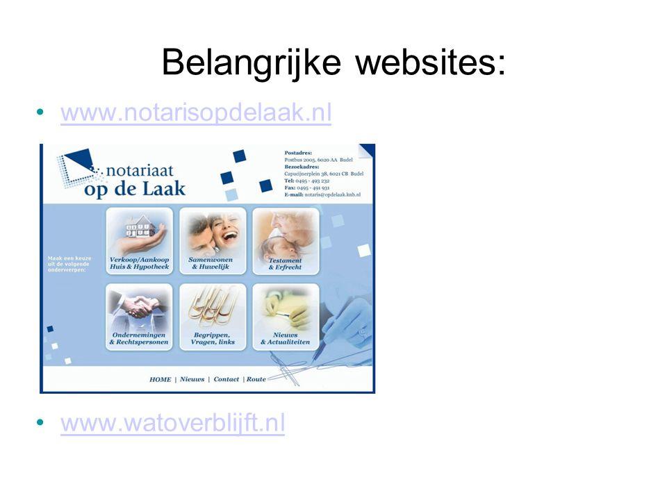 Belangrijke websites: