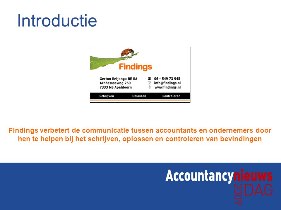 Introductie Findings verbetert de communicatie tussen accountants en ondernemers door.