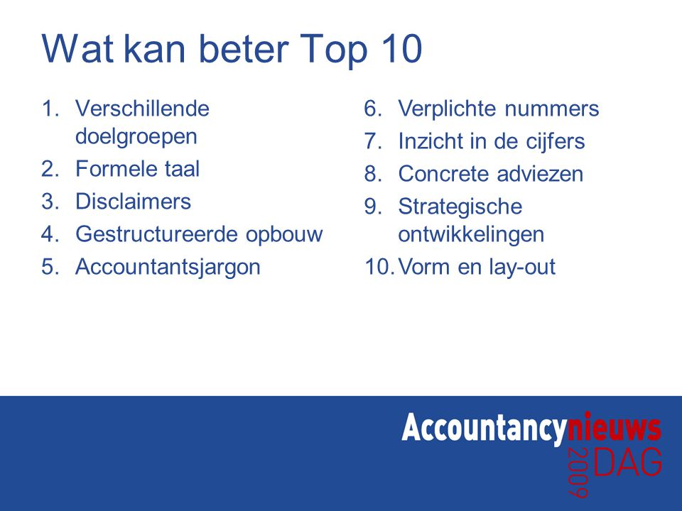 Wat kan beter Top 10 Verschillende doelgroepen Formele taal