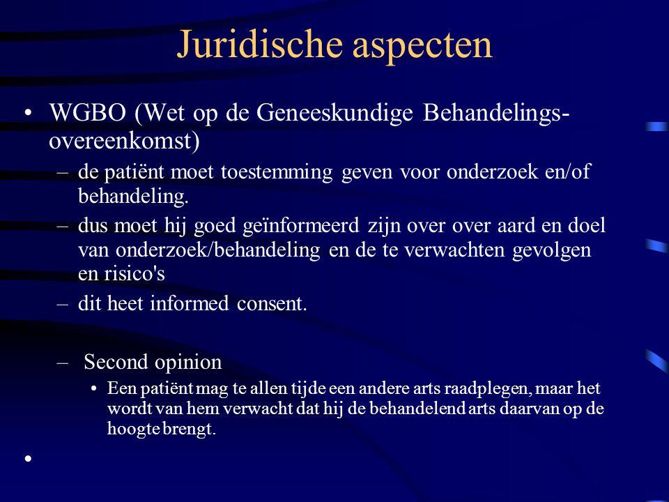 Juridische aspecten WGBO (Wet op de Geneeskundige Behandelings-overeenkomst) de patiënt moet toestemming geven voor onderzoek en/of behandeling.