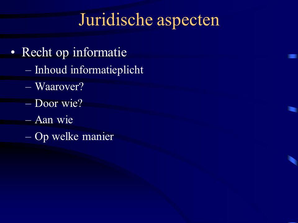 Juridische aspecten Recht op informatie Inhoud informatieplicht