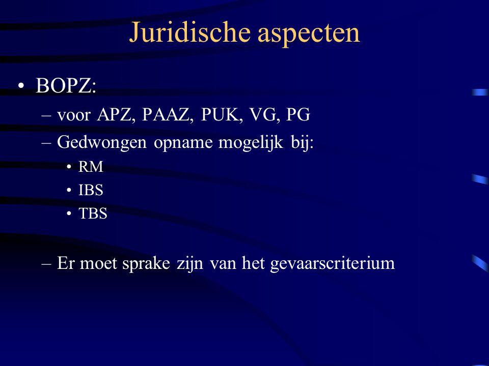 Juridische aspecten BOPZ: voor APZ, PAAZ, PUK, VG, PG