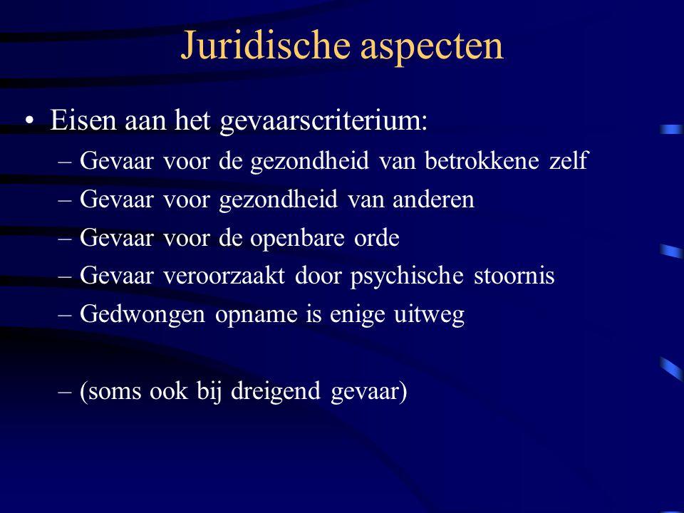 Juridische aspecten Eisen aan het gevaarscriterium: