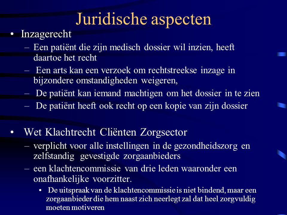 Juridische aspecten Inzagerecht Wet Klachtrecht Cliënten Zorgsector