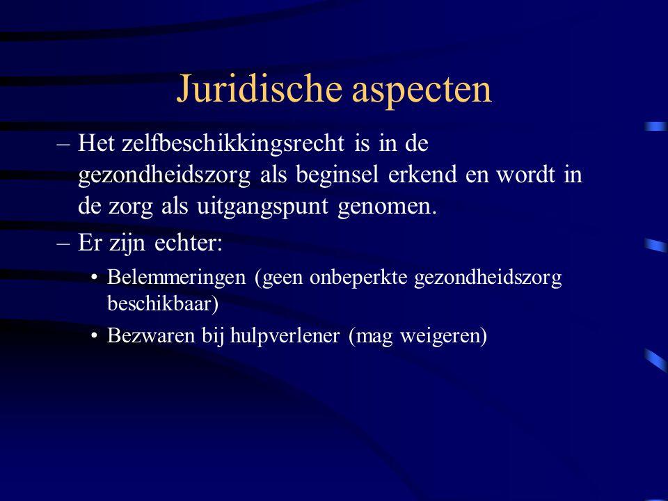 Juridische aspecten Het zelfbeschikkingsrecht is in de gezondheidszorg als beginsel erkend en wordt in de zorg als uitgangspunt genomen.