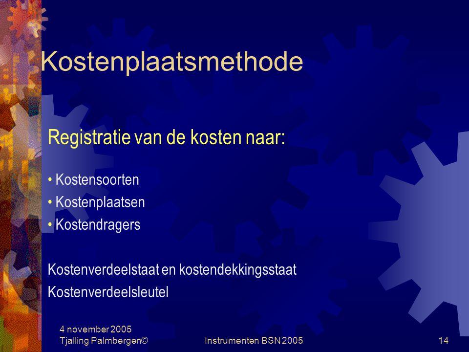 Kostenplaatsmethode Registratie van de kosten naar: Kostensoorten