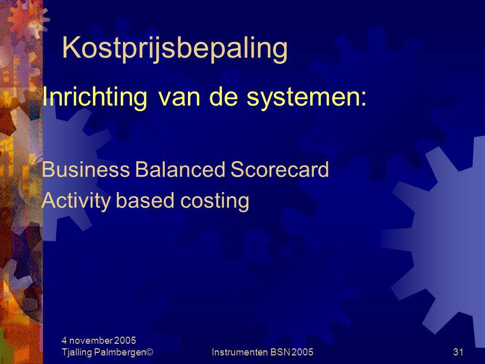 Kostprijsbepaling Inrichting van de systemen: