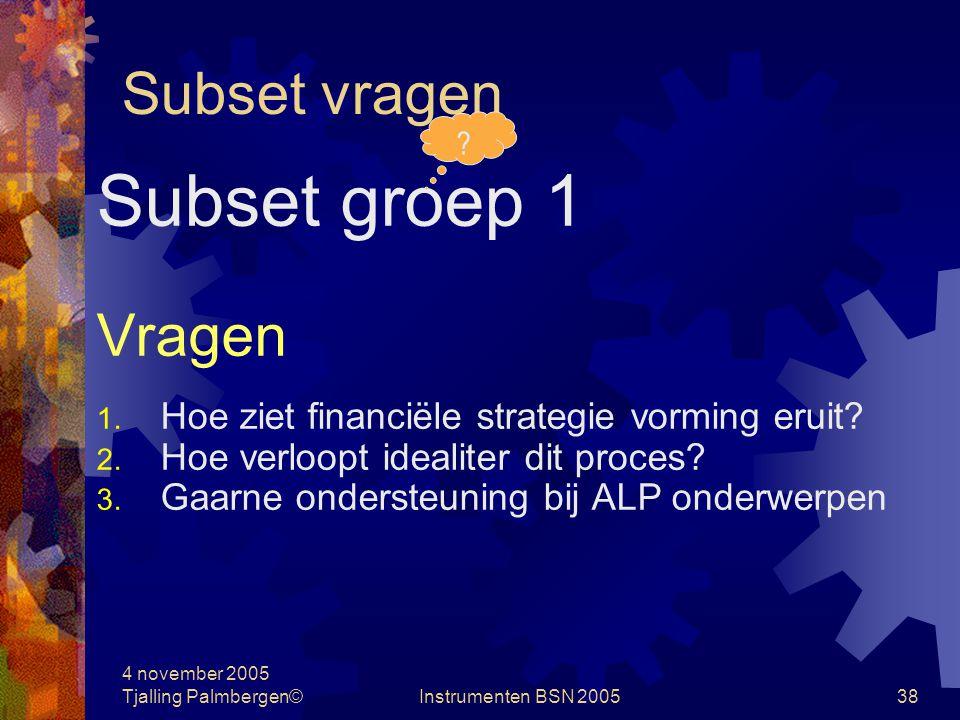 Subset groep 1 Subset vragen Vragen