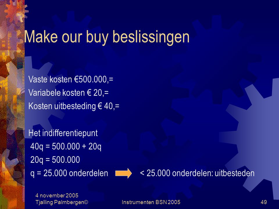 Make our buy beslissingen