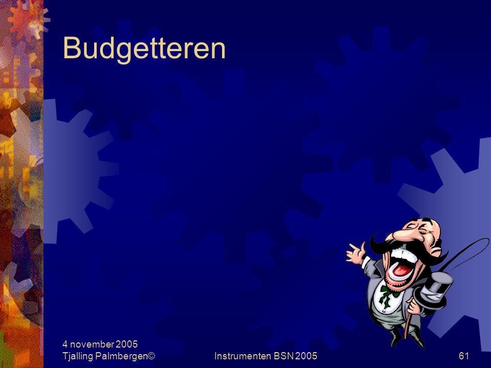 Budgetteren 4 november 2005 Tjalling Palmbergen© Instrumenten BSN 2005