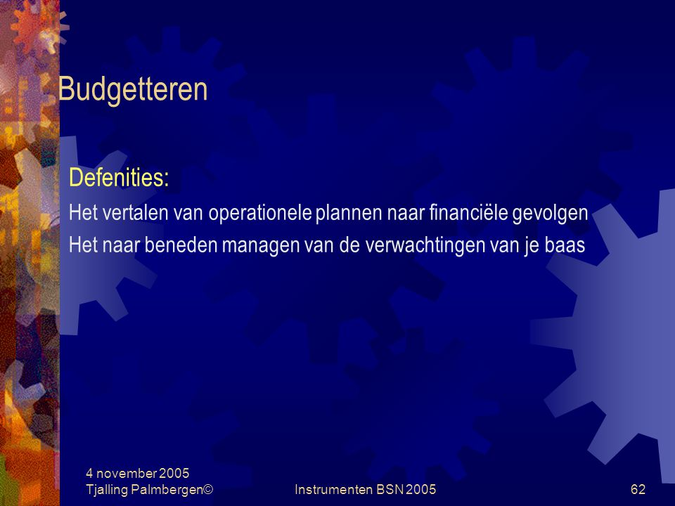 Budgetteren Defenities: