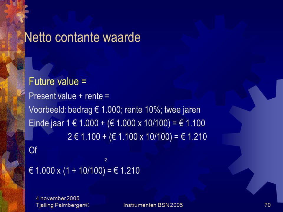 Netto contante waarde Future value = Present value + rente =