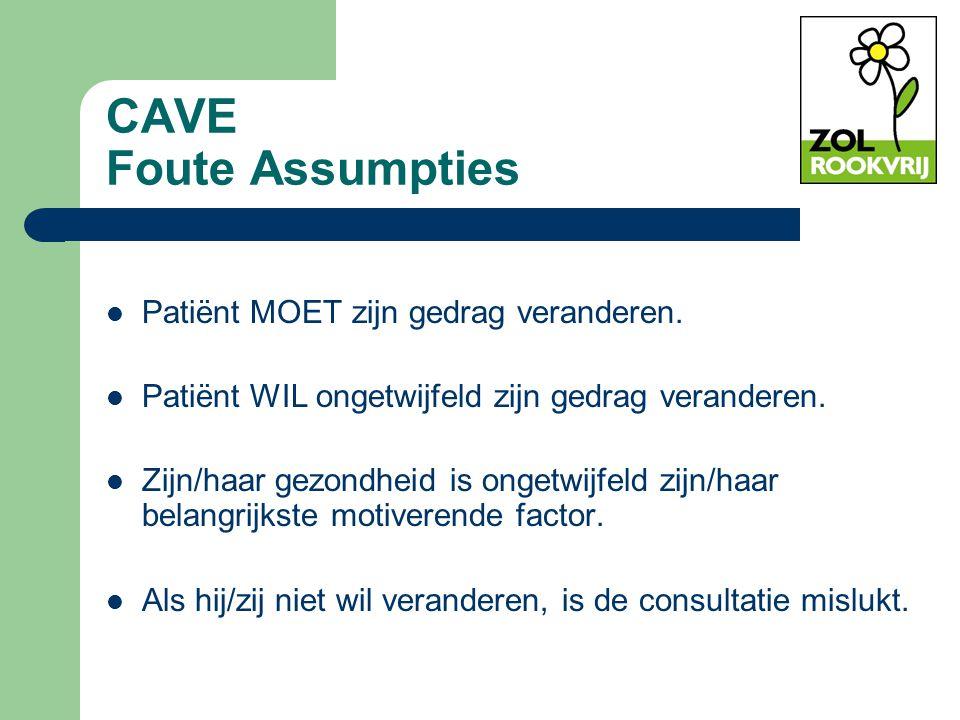 CAVE Foute Assumpties Patiënt MOET zijn gedrag veranderen.