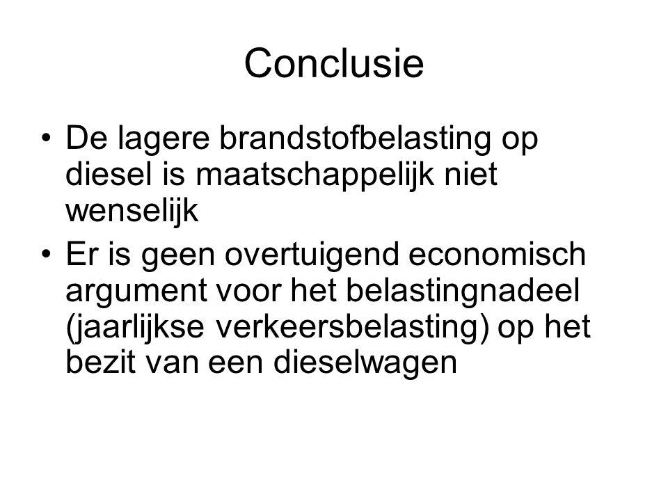 Conclusie De lagere brandstofbelasting op diesel is maatschappelijk niet wenselijk.