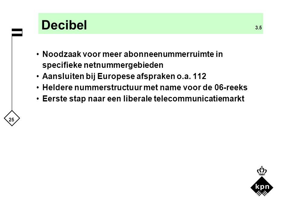 Decibel 3.5 Noodzaak voor meer abonneenummerruimte in specifieke netnummergebieden. Aansluiten bij Europese afspraken o.a. 112.