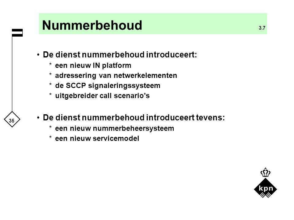 Nummerbehoud 3.7 De dienst nummerbehoud introduceert: