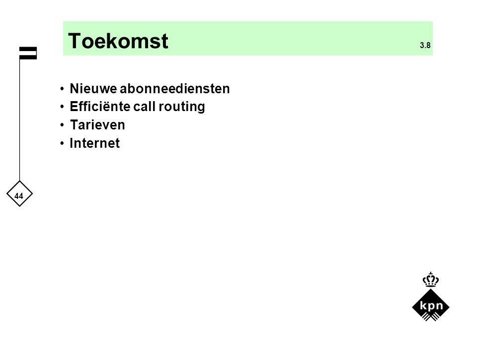 Toekomst 3.8 Nieuwe abonneediensten Efficiënte call routing Tarieven