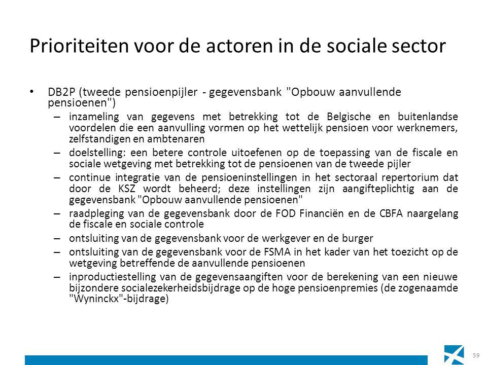 Prioriteiten voor de actoren in de sociale sector