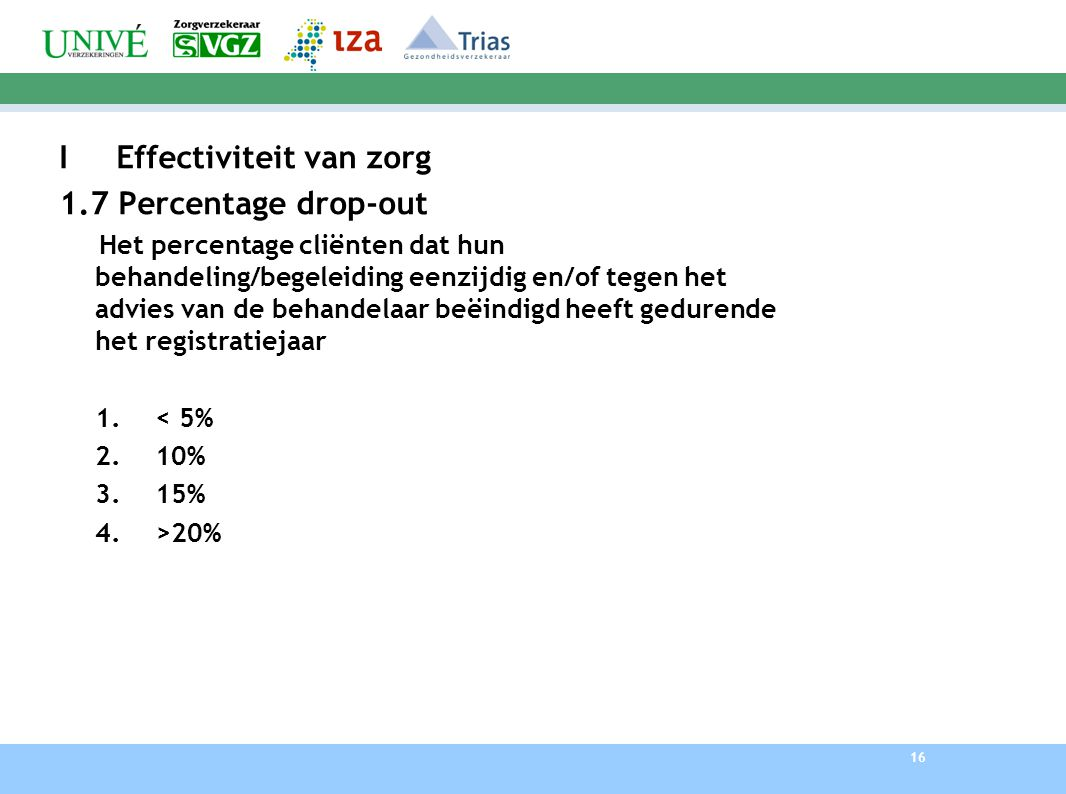 I Effectiviteit van zorg 1.7 Percentage drop-out