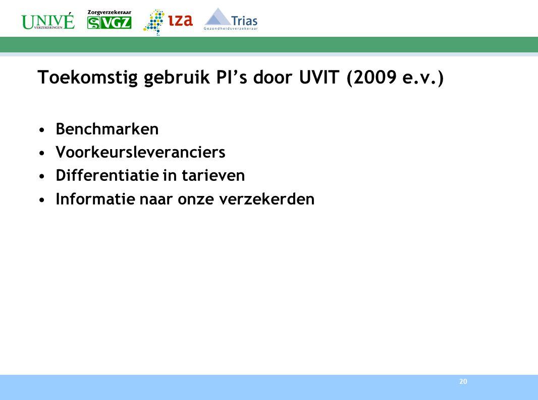 Toekomstig gebruik PI's door UVIT (2009 e.v.)