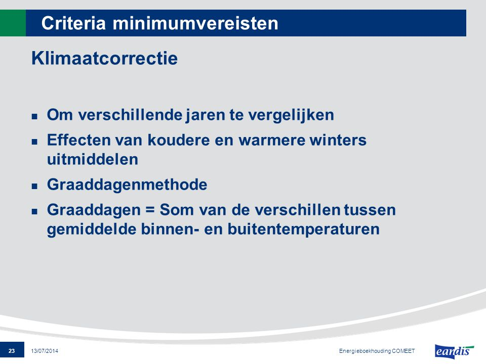 Criteria minimumvereisten