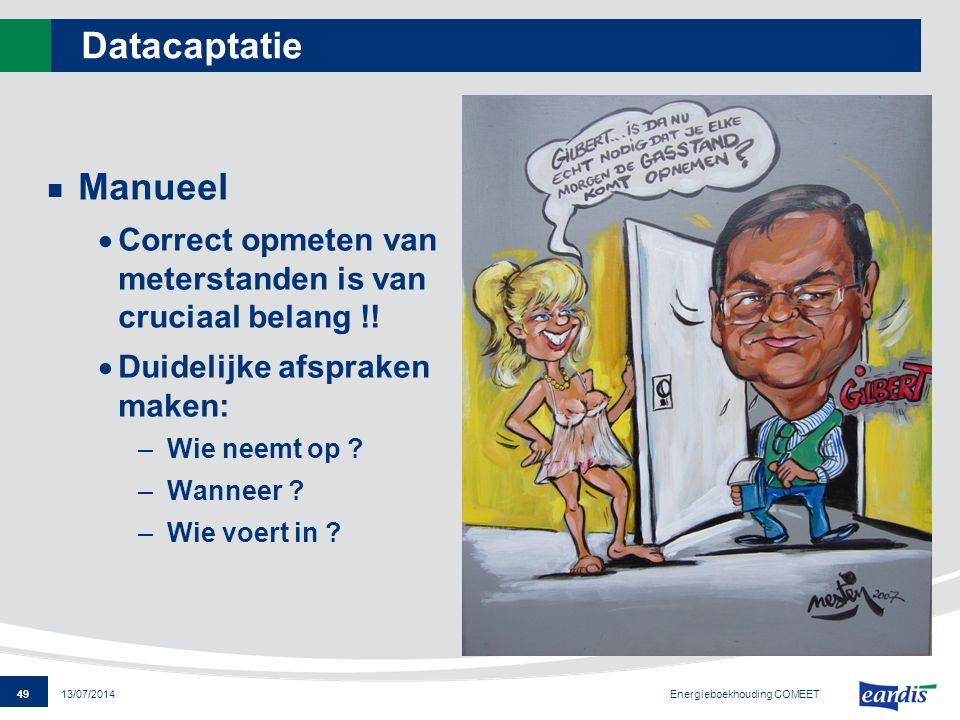 Datacaptatie Manueel. Correct opmeten van meterstanden is van cruciaal belang !! Duidelijke afspraken maken: