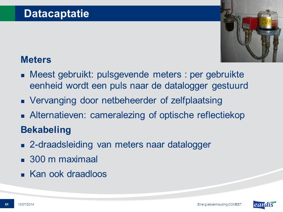 Datacaptatie Meters. Meest gebruikt: pulsgevende meters : per gebruikte eenheid wordt een puls naar de datalogger gestuurd.