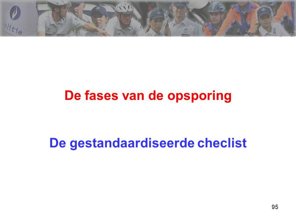 De fases van de opsporing De gestandaardiseerde checlist