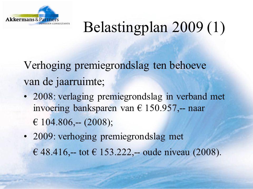 Belastingplan 2009 (1) Verhoging premiegrondslag ten behoeve