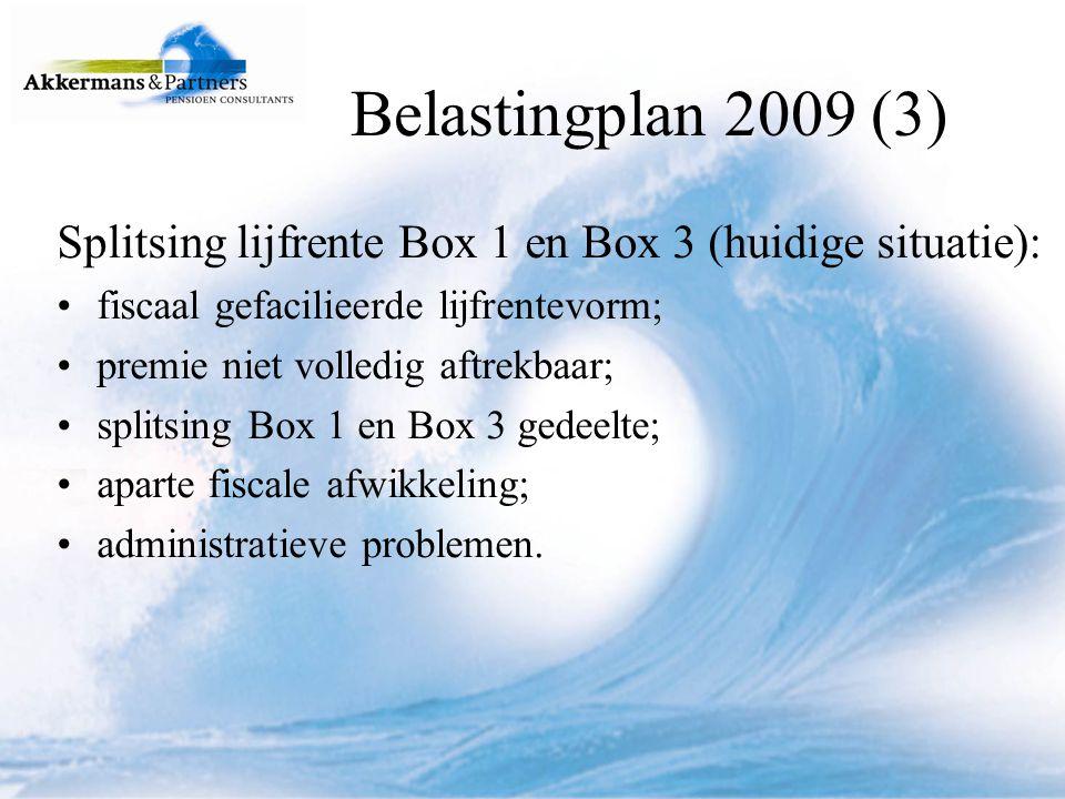 Belastingplan 2009 (3) Splitsing lijfrente Box 1 en Box 3 (huidige situatie): fiscaal gefacilieerde lijfrentevorm;