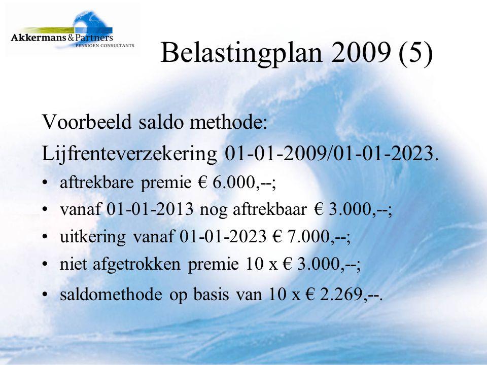 Belastingplan 2009 (5) Voorbeeld saldo methode: