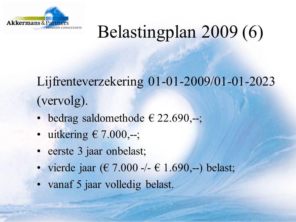 Belastingplan 2009 (6) Lijfrenteverzekering 01-01-2009/01-01-2023