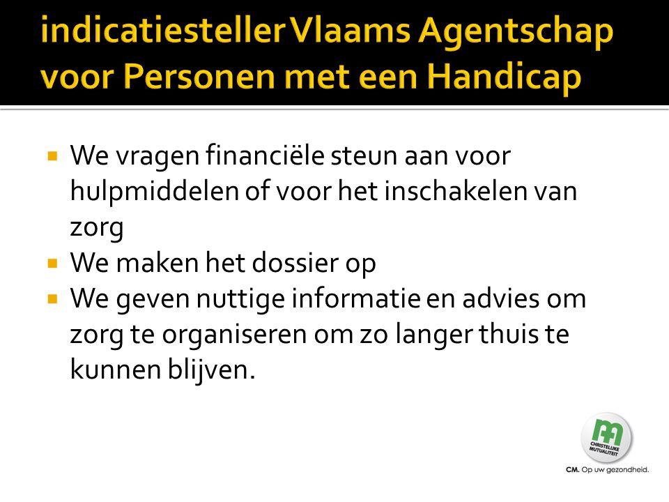indicatiesteller Vlaams Agentschap voor Personen met een Handicap