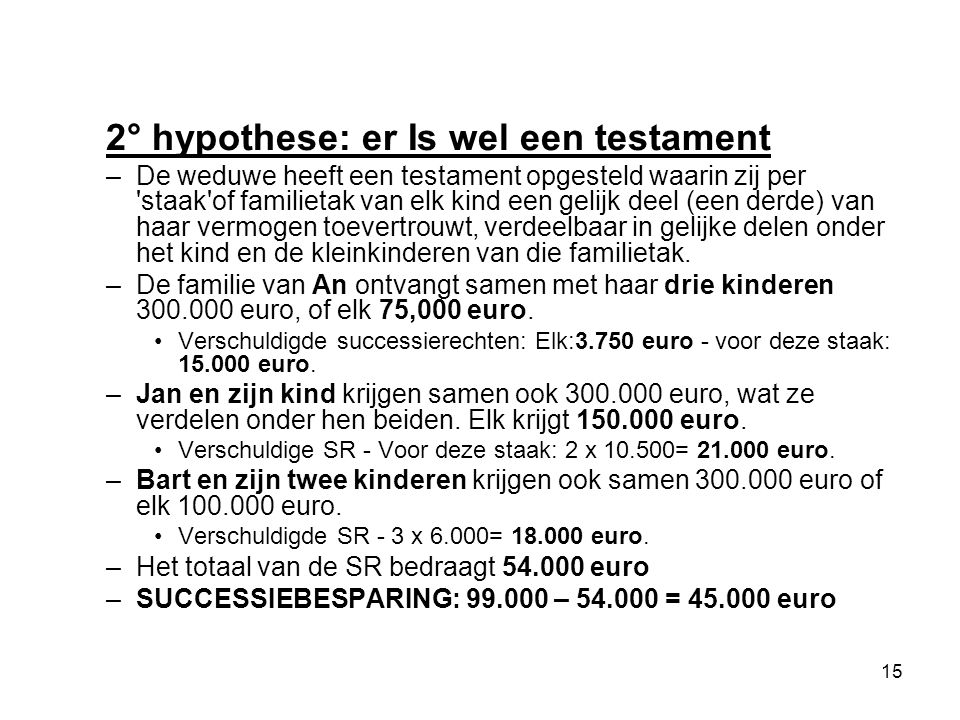2° hypothese: er Is wel een testament