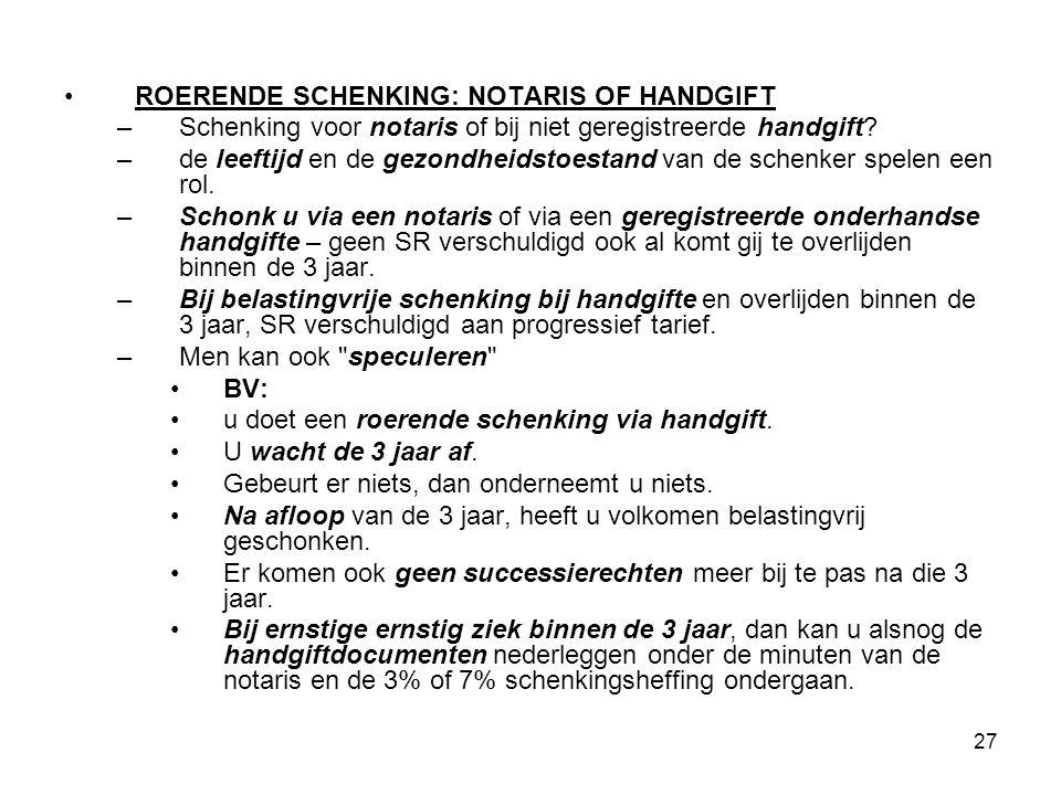 ROERENDE SCHENKING: NOTARIS OF HANDGIFT