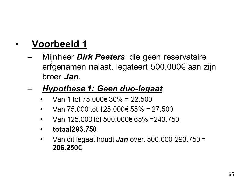 Voorbeeld 1 Mijnheer Dirk Peeters die geen reservataire erfgenamen nalaat, legateert 500.000€ aan zijn broer Jan.