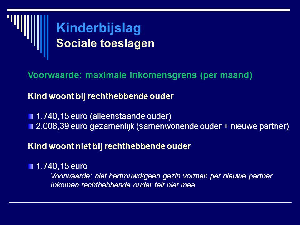 Kinderbijslag Sociale toeslagen
