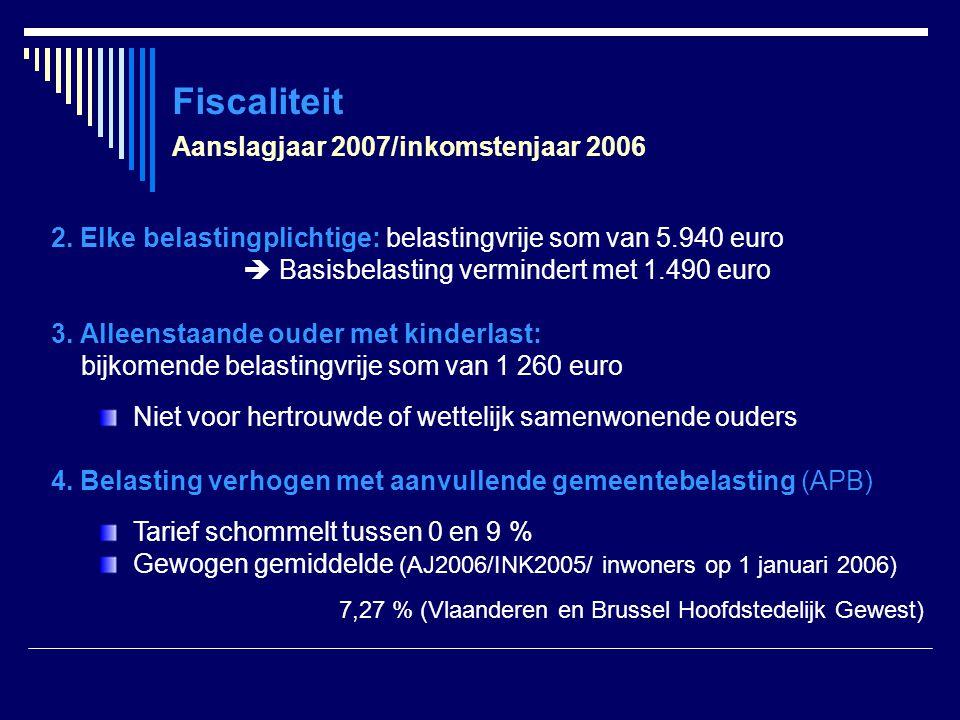 Fiscaliteit Aanslagjaar 2007/inkomstenjaar 2006