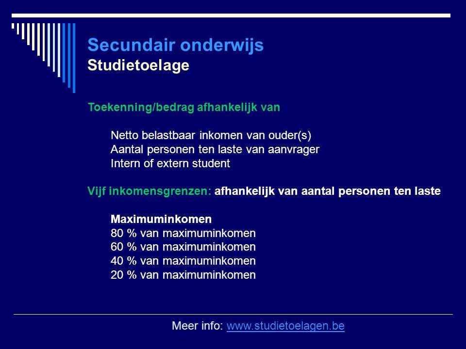 Secundair onderwijs Studietoelage