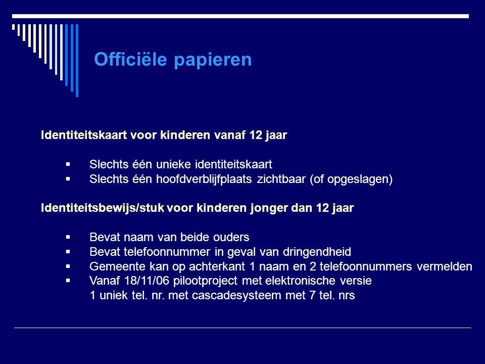 Officiële papieren Identiteitskaart voor kinderen vanaf 12 jaar