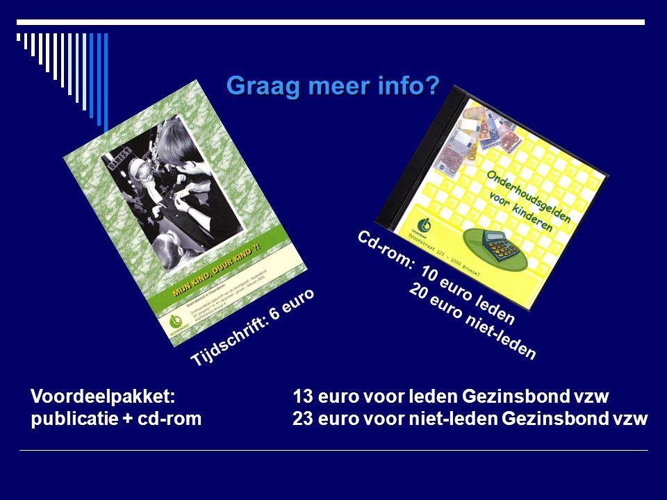 Graag meer info Voordeelpakket: 13 euro voor leden Gezinsbond vzw