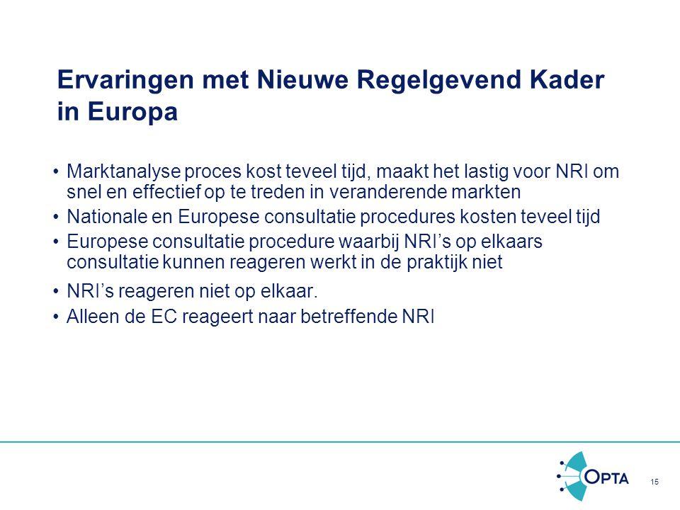 Ervaringen met Nieuwe Regelgevend Kader in Europa