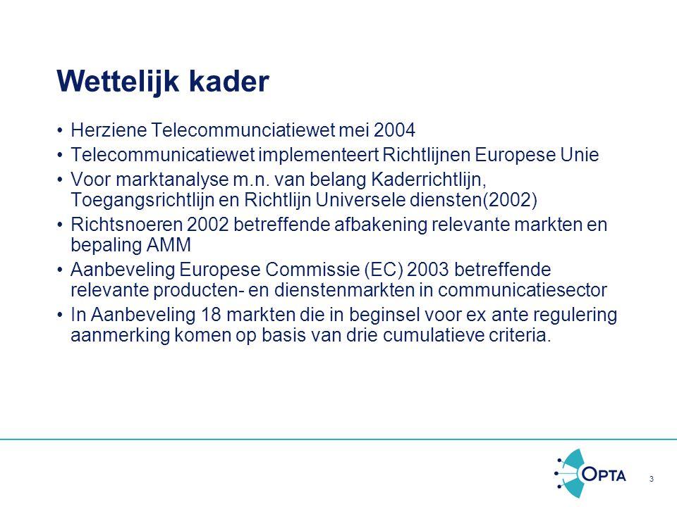 Wettelijk kader Herziene Telecommunciatiewet mei 2004