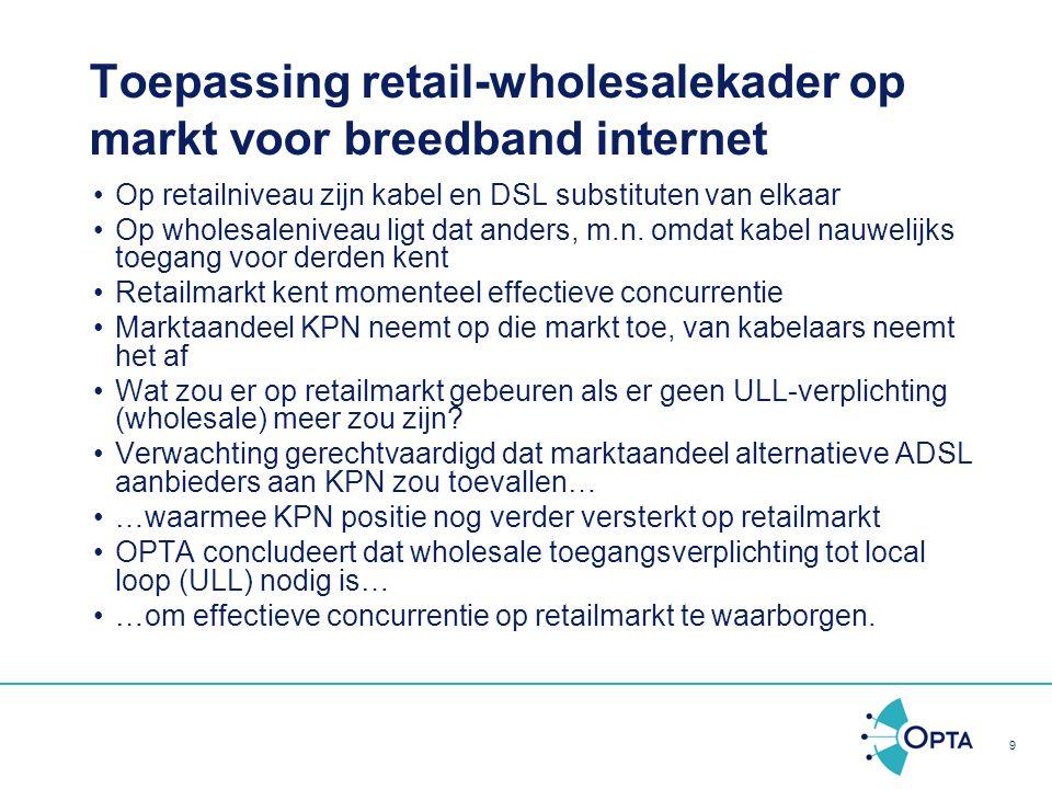 Toepassing retail-wholesalekader op markt voor breedband internet