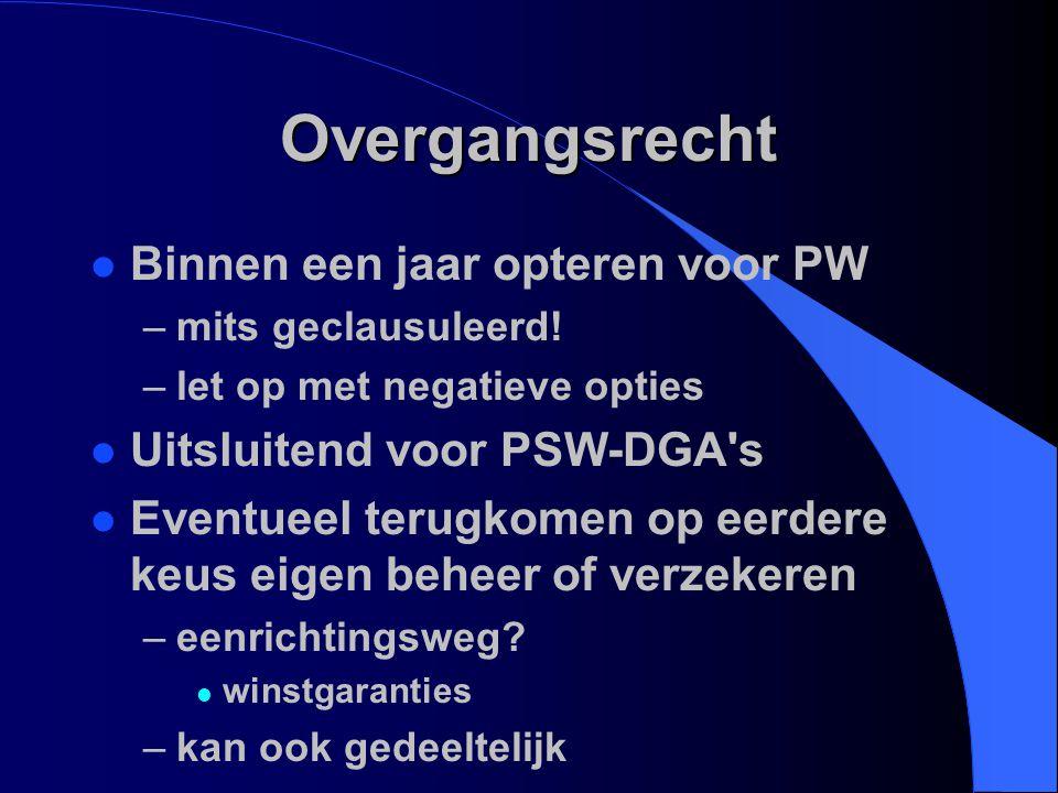 Overgangsrecht Binnen een jaar opteren voor PW