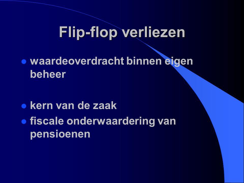 Flip-flop verliezen waardeoverdracht binnen eigen beheer